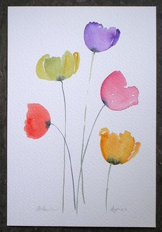 ART Watercolor painting of COLOURFUL POPPIES original art by