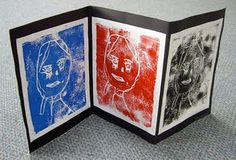 Carve faces into foam trays (donated from the meat department). Paint with tempera and stamp.
