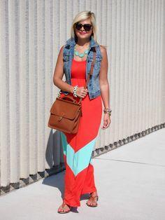 Blue Streak Dress: c/o Urban Attic Boutique | Necklace: c/o Urban Attic Boutique | Vest: Old Navy {similar} | Sandals: Target | Bag: Coach | Sunnies: Karen Walker | Bracelets: c/o Sira & Mara, c/o Stella & Dot, J.Crew | Watch: Micheal Kors