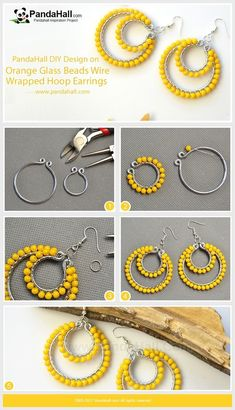 Jewelry Making Tutorials Orange Glass Beads Wire Wrapped Hoop Earrings Use the pliers to wrap the aluminum wires into a big hoop and a small hoop,. Jewelry Making Tutorials Orange Glass Beads Wire Wrapped Hoop Earrings Use the pliers to wrap the Wire Wrapped Earrings, Beaded Earrings, Earrings Handmade, Crochet Earrings, Hoop Earrings, Diamond Earrings, Diy Drop Earrings, Bridal Earrings, Diy Thread Earrings
