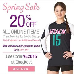 The deals were too good to give up! Our Spring Sale has been Extended an additional week! Shop 20% off all online items using promo code VE2015 #spring #sale #volleyball #women