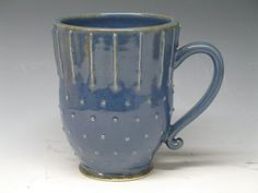 Blue Mug Super cute Hand made mugs & pottery by by Heidishoppe