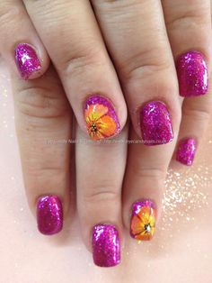Found another great nail design, re pin and share for others ((TAB)) Fairy godmother polish with one stroke flowers