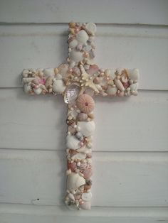 Baby Pink Seashell Wooden Cross/ Baptism/ by MyHoneypickles, $65.00