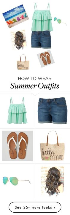 """On the beach outfit "" by hquate on Polyvore featuring LE3NO, American Eagle Outfitters, Style & Co., Ray-Ban, women's clothing, women, female, woman, misses and juniors"