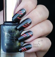 A England Dorian Gray with neon stripes nail art (promo Punk Nails, Red Nails, Black Nails, Nail Art Stripes, Striped Nails, Stiletto Nail Art, Cute Acrylic Nails, Rocker Nails, Talon Nails
