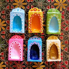Matchbox Shrines (Black Cat Bazaar) Tags: door pink blue red orange green love yellow gold miniature shrine folkart arch peace recycled niche painted magic joy vision luck serenity handpainted wisdom matchbox papermache decorated repurposed reclaimed sarahcampbell blackcatbazaar