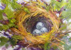 Bird Nest with Eggs 5x7 Original Oil Painting by Karen Margulis