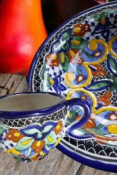 For the artisan kitchen: warm, handcrafted color and extraordinary design. Our Talavera pottery collection of tableware adds rustic charm to everyone's favorite gathering spot: the kitchen. Kitchen Dishes, Kitchen Counters, Artisan Kitchen, Mexican Home Decor, Moroccan Art, Mexican Ceramics, Mexican Kitchens, Talavera Pottery, Italian Pottery