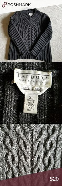 Dark Gray Talbots Sweater XL Wool and Silk Blend Great pre owned condition  Made in Italy  28 inches top of the neck line to bottom 17 inches shoulder to shoulder 26 shoulder to wrist  20 arm pit to arm pit  Measurements taken flat Talbots Sweaters V-Necks