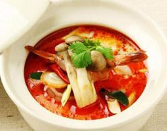 Tom Yam Kung...hot and spicy Thai style shrimp soup.