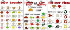 Healthy Eating Menu: we could laminate and have dry erase markers to make an ordering sheet for the kids