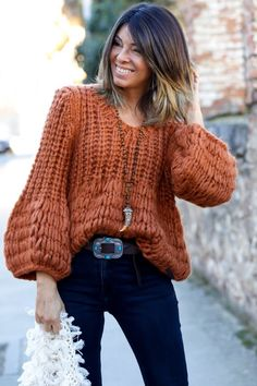 Flawless outfit idea to copy ♥ For more inspiration join our group Amazing Things ♥ You might also like these related products: - Sweaters ->. Knit Fashion, Sweater Fashion, Boho Fashion, Fashion Outfits, Womens Fashion, Sweater Outfits, Pull Crochet, Mode Crochet, Knit Crochet