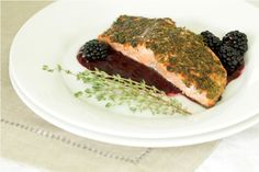 Thyme encrusted salmon with blackberry gastrique
