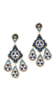 Swarovski crystals, quartz, and miyuki seed beads lend vibrant color to elegant Miguel Ases earrings. Post closure.  14k gold fill. Made in the USA.  Measurements Length: 2.25in / 6cm   14k gold fill. Made ...