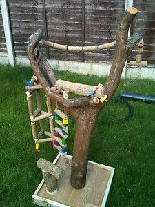 Large parrot stand, custom made with parrot gym & toys
