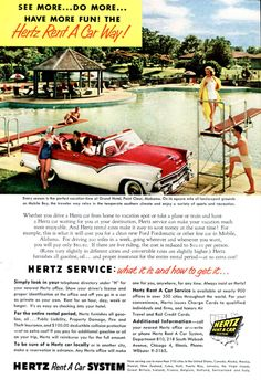 Vintage 1950 S Hertz Ad Grand Hotel Point Clear Alabama Swimming Pool Scene Red And White Convertible