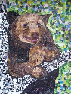 Tree Bear Original Torn Paper Collage by AngelsandAnimals on Etsy