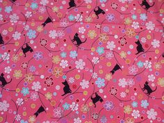 Beautiful Japanese Fabric  Sakura Cats on Pink  Fat by KawaiiMeow