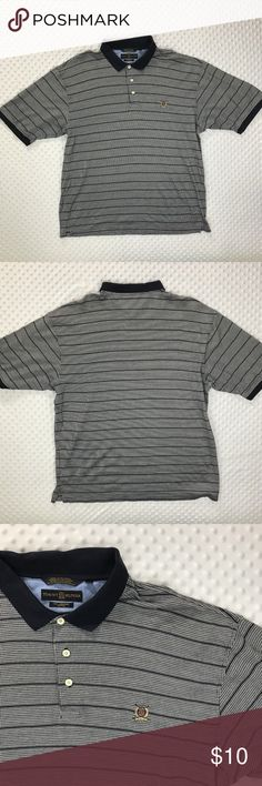 Tommy Hilfiger Polo Shirt Item: Tommy Hilfiger Men's Extra Large Blue Short Sleeve Stripe Houndstooth Polo Shirt  Size: Extra Large XL   Refer to measurements below for accurate fit!  Measured flat:          23-24 inches armpit to armpit         08 inches armpit to the end of the sleeve         30 inches from collar seam to shirttail         Base Color:  Blue   Fabric: Cotton Tommy Hilfiger Shirts Polos