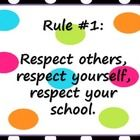 There are 5 polka dot themed classroom rules posters. ...