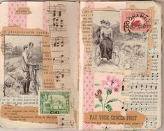 Junk Journal page idea Junk Journal, Journal Paper, Art Journal Pages, Bullet Journal, Art Journals, Kunstjournal Inspiration, Art Journal Inspiration, Altered Books, Textile Art