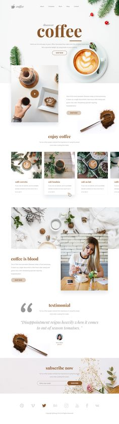 Website design for coffee product/business.