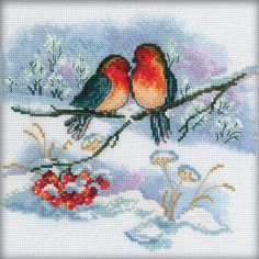 "COUNTED CROSS STITCH KIT A PAIR OF BULLFINCHES PRODUCT DETAILS: Size: 7.08 x 7.08 "" (18 x 18 cm) Aida №16 The composition of the canvas cotton Color white canvas The composition of cotton thread Driving a black-and-white character The kit includes floss, canvas, diagram, needle, guide The frame in kit is not included. Manufacturer: RTO (Russia)"
