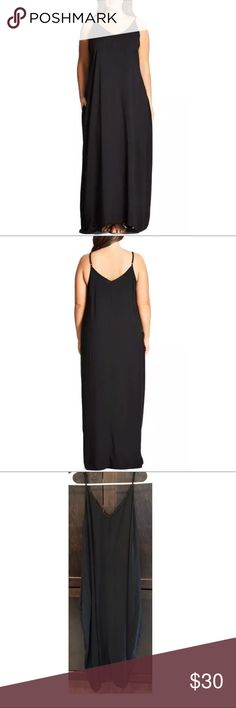 "$89 City Chic V-Neck Maxi Dress in Black $89 City Chic V-Neck Maxi Dress in Black ~Size XS/14~  High end department store customer return. In stores now for $89 + Tax  Nice! Gently worn  Black V front and back Side pockets  Size XS/14  Measures approximately: total length 51"" bust across 18""  Has a light mark under the right underarm (deodorant ?)- refer to photos.    PRICED TO SELL FAST! PLEASE ASK ANY QUESTIONS BEFORE PURCHASE, THANKS CHECK OUT MY OTHER DESIGNER HANDBAGS AND CLOTHING! City…"