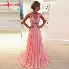 43083488c7 Uroda-Emily Aplikacje Lace-Line vestido de noche Różowy Suknie Wieczorowe Suknie  2017 Party Prom Dress Okazji Formalnego