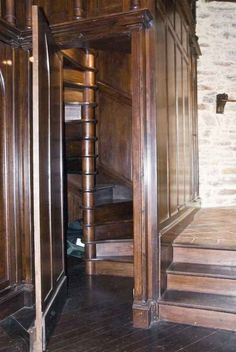 """""""Spiral staircase in secret room that heads upstairs to the writing nook."""" ....to the writing nook!"""
