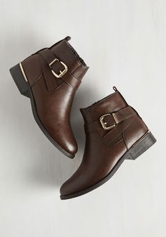 Press Release Posh Bootie in Espresso. Youve got your fashion statement prepped and ready to distribute, and youre proud to click send looking sleek in these brown, vegan faux-leather booties! #brown #modcloth