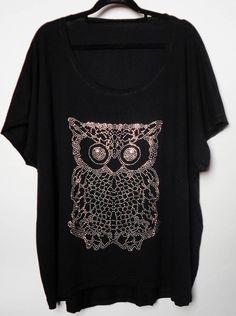 Blusa Plus Size aplicação de coruja