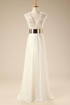 Deep V Neck Cap Sleeves White Chiffon Gold Belt Summer Beach Wedding Dress