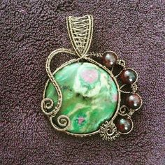 Ruby in Fuchsite with Garnet-Gunmetal Wire Wrapped Amulet- Handcrafted Handmade Pendant- Unique OOAK Heady- Heart Chakra and Third Eye