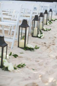 Elegant Riviera Maya Destination Wedding Lanterns and flowers line the beach aisle: www. Wedding Ceremony Ideas, Wedding Aisle Decorations, Beach Wedding Reception, Beach Ceremony, Wedding Lanterns, Hawaii Wedding, Wedding Venues, Simple Beach Wedding, Trendy Wedding