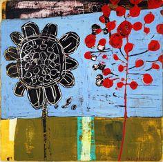 "'Sun Friends', by Barbara Gilhooly, 10"" x 10"", mixed media on birch. (c) 2013 $300. http://barbaragilhooly.com/"