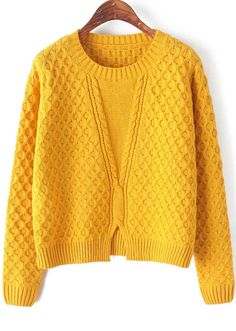 Yellow Long Sleeve Split Cable Knit Sweater Sheinside offers Yellow Long Sleeve Split Cable Knit Sweater ♦F&I♦ Knitwear Fashion, Knit Fashion, Sweater Fashion, Fall Sweaters, Cardigan Sweaters For Women, Cable Knit Sweaters, Cardigans, Loose Sweater, Sweatshirts