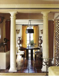 Interior Designer Stephen Sills Designs a Manhattan Home. The dining room's table, chairs, and light fixture are custom made; Renaissance Revival sconces hang above Puglian urns that date from the fourth century B. Manhattan Apartment, York Apartment, Interior Decorating, Interior Design, French Interior, Interior Modern, Decorating Ideas, South Shore Decorating, Art Deco Furniture