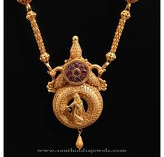 22Kt Gold Temple Jewellery Designs, Gold Long Chains, Antique Gold Long Chain Designs.