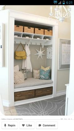 Project entryway closet makeover the reveal is one of images from coat closet turned mudroom. This image's resolution is pixels. Find more coat closet turned mudroom images like this one in this gallery Decor, Home Diy, Sweet Home, Interior, Entry Closet, House, Home Projects, Home Decor, Home Deco