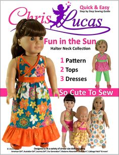 Fun in the Sun – Halter Neck Collection – AG Doll Sewing Pattern