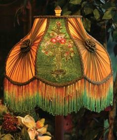 """Victorian Gone With The Wind Bed And Breakfast Velvet Embroidered Lamp Shade Flower Urn 16"""" x 14"""" Standard Lamp Harp. Victorian Gone With The Wind Bed And Breakfast Velvet Embroidered Lamp Shade Flower Urn 16"""" X 14"""" (Including Fringes). Countless threads create a classical flower urn upon crushed velvet. Alternate knotted chiffon panels permit diffused light to permeate the room. Fits standard lamp harp. Lamp base sold separately. Bed and Breakfast Decor."""