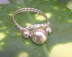 Wirewrapped Ring Five Little Gold Beads sz 7-1/2 by wiregems