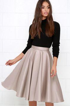Sock Hop Sweetheart Taupe Midi Skirt at Lulus.com!