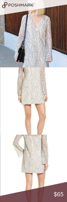 """NWT Wayf lace bell sleeve shift dress Ideal for fancy bars and apartment soirées, this lacy shift has a simple silhouette and a neckline that shows off your collarbones (it's the new midriff). 34"""" length (size Medium) Slips on over head Plunging neck Long sleeves Lined 50% cotton, 35% nylon, 15% polyester Dry clean Imported Savvy Wayf Dresses Mini"""