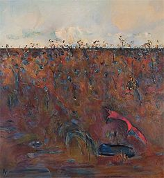 fred williams, landscape with red fox, 1967.