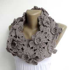 women alpaca scarf ,infinity scarves ,circle scarf ,crocheted infinity scarf ,floral scarf , neckwarmer , for her on Etsy, $55.00
