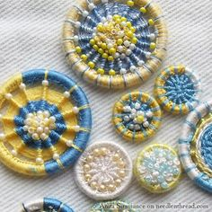 1 of 6 Handmade and embroidered Dorset buttons. Click through for blog page.