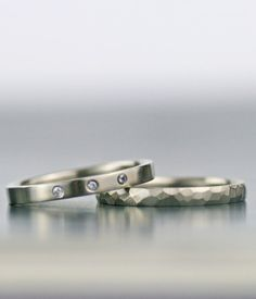 diamond and sterling palladium alternative wedding band set. Simply stunning for men or women, these minimalist and modern rings incorporate...